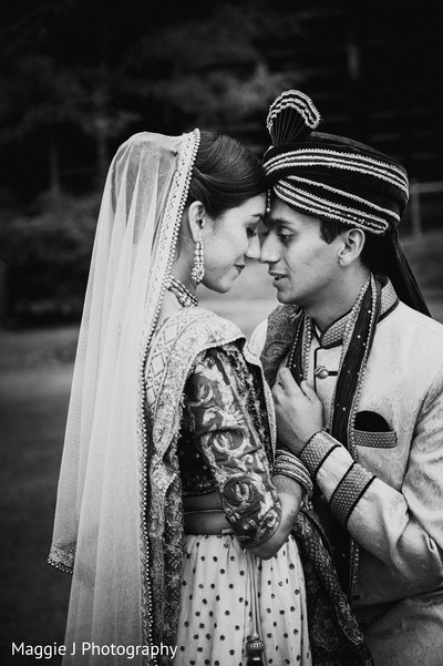 Romantic black and white capture of indian bride and groom. in Bethlehem, Pennsylvania Indian Wedding by Maggie J Photography