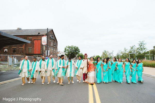 Indian groomsmen and bridesmaids in turquoise. in Bethlehem, Pennsylvania Indian Wedding by Maggie J Photography