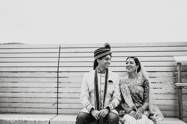 Black and white indian bride and groom portrait. in Bethlehem, Pennsylvania Indian Wedding by Maggie J Photography