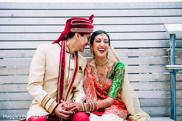 See this lovely indian couple in their white, green and gold wedding outfits. in Bethlehem, Pennsylvania Indian Wedding by Maggie J Photography