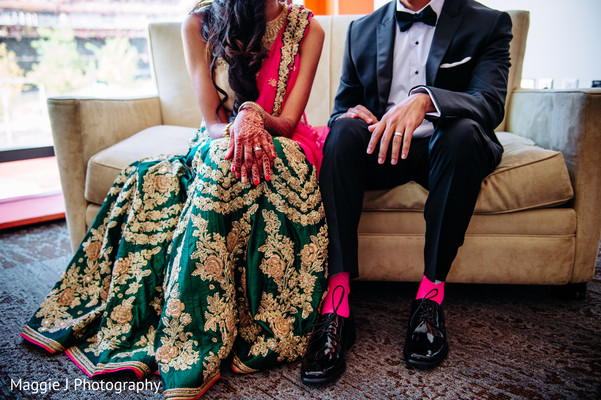 Indian wedding reception fashion. in Bethlehem, Pennsylvania Indian Wedding by Maggie J Photography