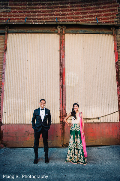 See this elegant indian bride and groom in their wedding  reception attire in Bethlehem, Pennsylvania Indian Wedding by Maggie J Photography