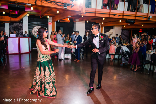 Indian newlyweds during their first dance. in Bethlehem, Pennsylvania Indian Wedding by Maggie J Photography