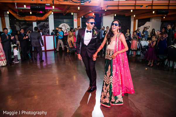 Indian bride and groom enjoying their wedding reception first dance. in Bethlehem, Pennsylvania Indian Wedding by Maggie J Photography