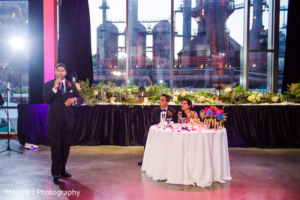Indian reception wedding speech moment. in Bethlehem, Pennsylvania Indian Wedding by Maggie J Photography