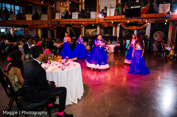 Indian performers Dancing at the wedding reception. in Bethlehem, Pennsylvania Indian Wedding by Maggie J Photography