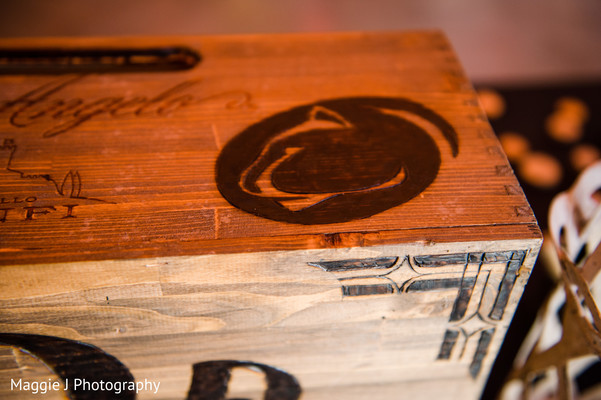 Wine boxes for indian wedding reception. in Bethlehem, Pennsylvania Indian Wedding by Maggie J Photography