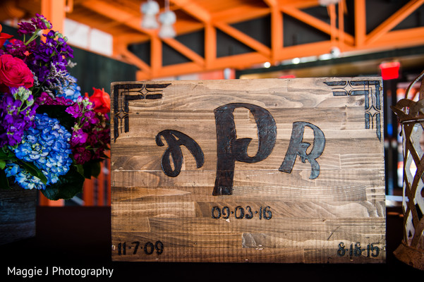 Beautiful wodden box with with bride and groom's initials and wedding date. in Bethlehem, Pennsylvania Indian Wedding by Maggie J Photography