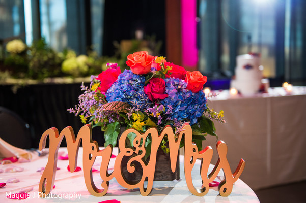 Mr and Mrs signs for sweetheart table decoration. in Bethlehem, Pennsylvania Indian Wedding by Maggie J Photography