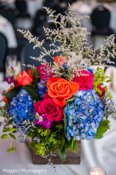 Blue orange and pink  rustic floral centerpiece in Bethlehem, Pennsylvania Indian Wedding by Maggie J Photography