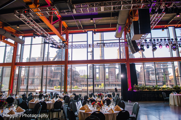 Indian wedding venue all set up for the reception. in Bethlehem, Pennsylvania Indian Wedding by Maggie J Photography