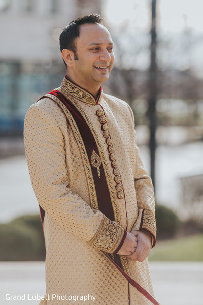Indian Groom Portrait in Perrysburg, OH Indian Fusion Wedding by Grand Lubell Photography