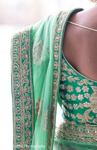 Green Sari in Perrysburg, OH Indian Fusion Wedding by Grand Lubell Photography