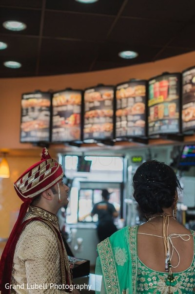 Bride and Groom at Taco Bell in Perrysburg, OH Indian Fusion Wedding by Grand Lubell Photography
