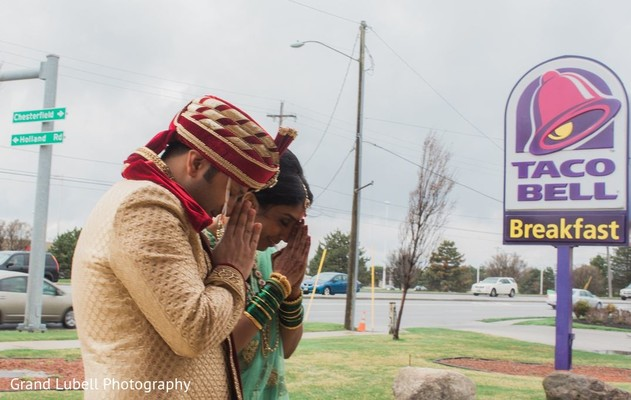 Bride and Groom Portrait in Perrysburg, OH Indian Fusion Wedding by Grand Lubell Photography