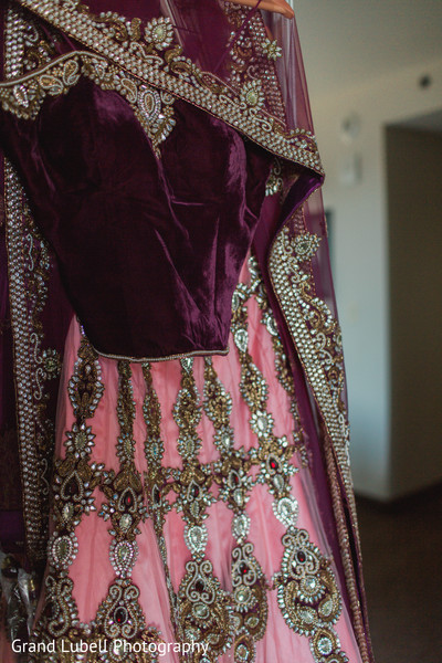 Pink Wedding Lengha in Perrysburg, OH Indian Fusion Wedding by Grand Lubell Photography
