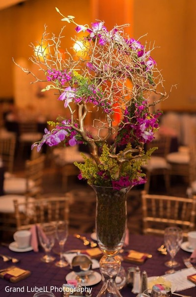 Indian Wedding Centerpiece in Perrysburg, OH Indian Fusion Wedding by Grand Lubell Photography
