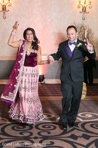 Bride and Groom Entrance in Perrysburg, OH Indian Fusion Wedding by Grand Lubell Photography