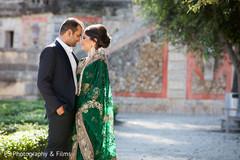 engagement,indian couple,green sari