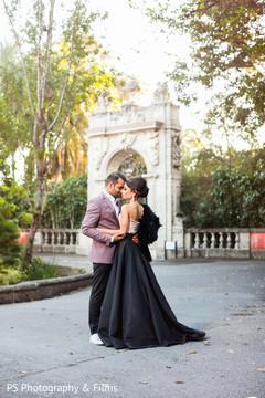 engagement,indian couple,black sari