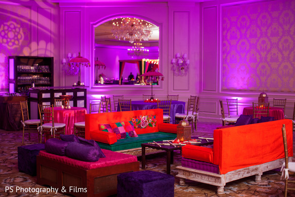 Lovely set up for a mehndi party in Palm Bech, FL Indian Wedding by PS Photography & Films