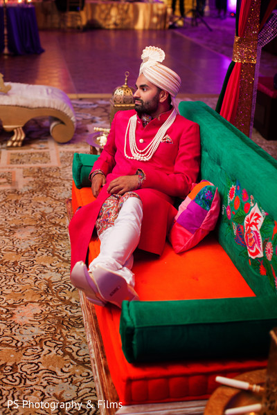 Indian groom in sangeet in Palm Bech, FL Indian Wedding by PS Photography & Films