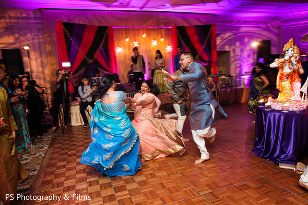 Indian family during Sangeet in Palm Bech, FL Indian Wedding by PS Photography & Films