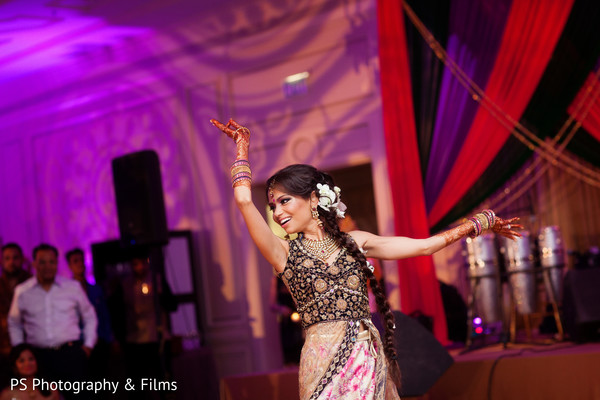 Maharani dancing in Sangeet in Palm Bech, FL Indian Wedding by PS Photography & Films