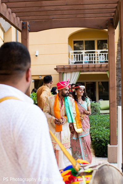 Preparing to receive the lovely maharani in Palm Bech, FL Indian Wedding by PS Photography & Films