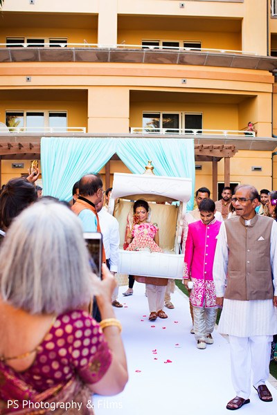 Maharani making her entrance down the aisle in Palm Bech, FL Indian Wedding by PS Photography & Films