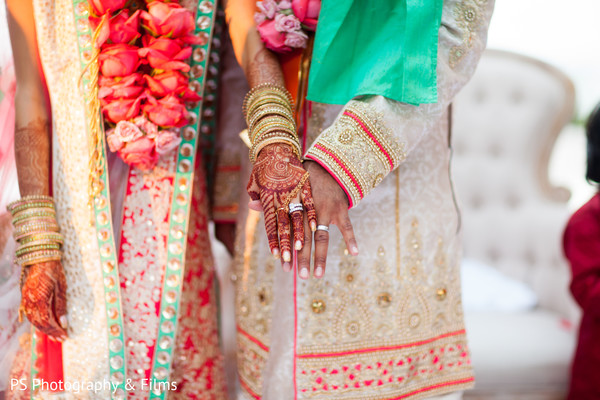 Lovely colors for a destination indian wedding ceremony in Palm Bech, FL Indian Wedding by PS Photography & Films