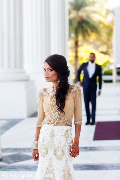 Beautifully detailed bridal fashion in Palm Bech, FL Indian Wedding by PS Photography & Films