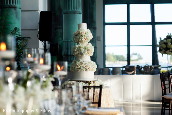 Perfect white wedding cake in Palm Bech, FL Indian Wedding by PS Photography & Films