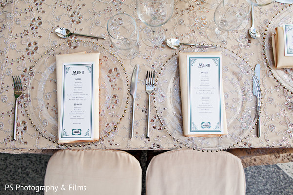 Lovely table setting for Indian wedding reception in Palm Bech, FL Indian Wedding by PS Photography & Films