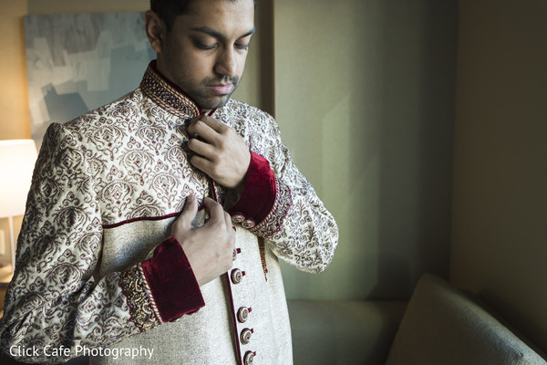 Indian groom getting ready . in Jersey City, NJ Indian Wedding by Click Café Photography