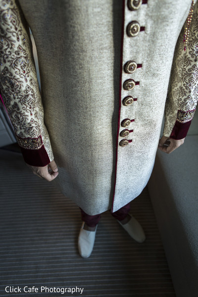 Fabulous close up of indian groom sherwani. in Jersey City, NJ Indian Wedding by Click Café Photography
