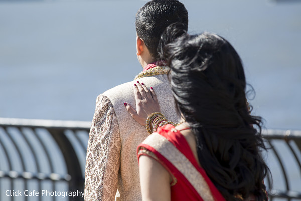 Indian bride and groom moments before the first look. in Jersey City, NJ Indian Wedding by Click Café Photography