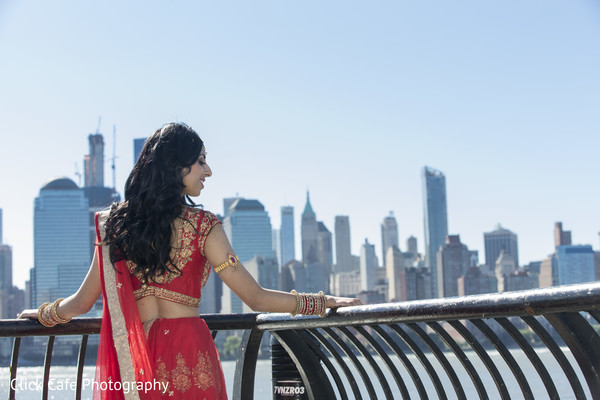 Indian bride outdoor portrait. in Jersey City, NJ Indian Wedding by Click Café Photography