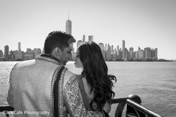 Indian bride and groom romantic black and white portrait. in Jersey City, NJ Indian Wedding by Click Café Photography