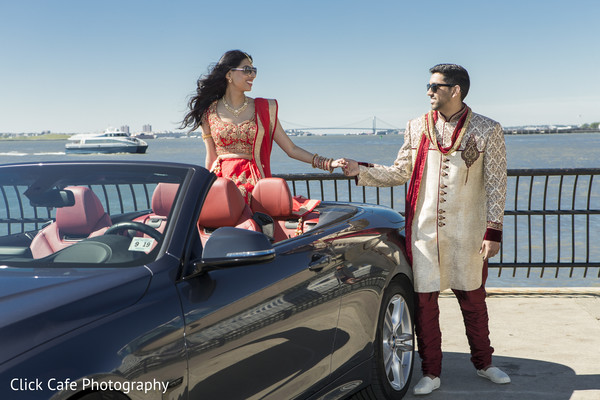 Indian bride and groom photo session. in Jersey City, NJ Indian Wedding by Click Café Photography