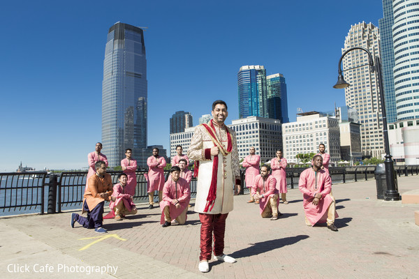 Indian groom and groomsmen portrait. in Jersey City, NJ Indian Wedding by Click Café Photography