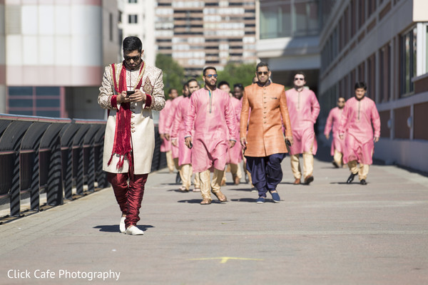 Indian groom and groomsmen. in Jersey City, NJ Indian Wedding by Click Café Photography