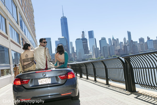 Indian groom in a contemporary baraat. in Jersey City, NJ Indian Wedding by Click Café Photography