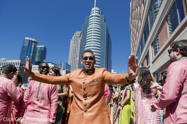 Best man dancing in wedding baraat. in Jersey City, NJ Indian Wedding by Click Café Photography