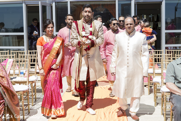 Indian groom entrance to the wedding ceremony. in Jersey City, NJ Indian Wedding by Click Café Photography