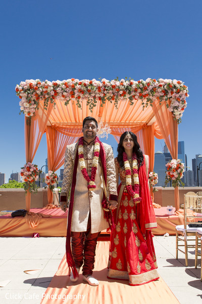 Indian bride and groom just get married. in Jersey City, NJ Indian Wedding by Click Café Photography