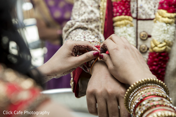Sweet moment of indian bride and groom. in Jersey City, NJ Indian Wedding by Click Café Photography