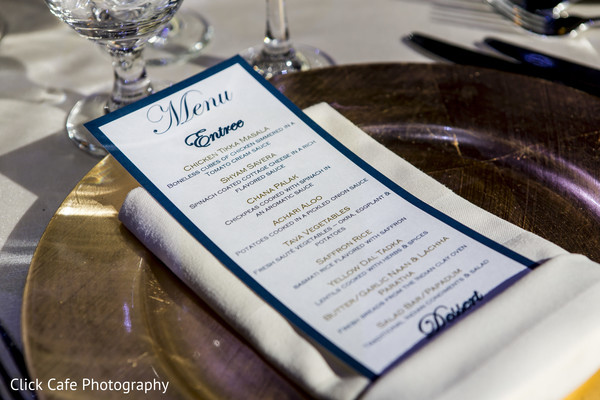 Lovely detail of indian wedding reception menu. in Jersey City, NJ Indian Wedding by Click Café Photography
