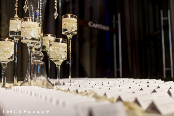 Elegant indian wedding reception stationary table. in Jersey City, NJ Indian Wedding by Click Café Photography