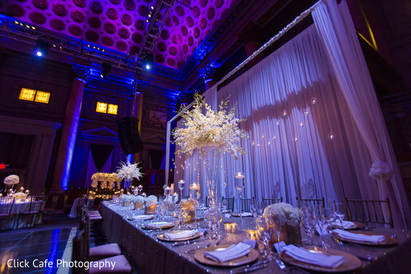 Amazing white table setting for indian wedding reception. in Jersey City, NJ Indian Wedding by Click Café Photography